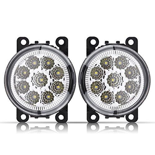 Qiilu 12V 5 W 9 LED Fendinebbia fari fendinebbia Faretto fendinebbia anteriore rotondo DRL Luce di marcia diurna ABS vetro bianco giallo