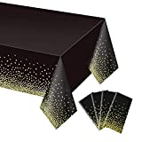 4 Pack Black and Gold Tablecloth for Rectangle Tables, Plastic Disposable Dot Confetti Party Table Covers for Birthday for Thanksgiving Christmas Wedding, Anniversary, 54' x 108'