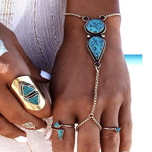 TseenYi Türkisfarbenes Fingerring-Armband, Silber, Handgelenk, Finger-Armband, Boho-Slave-Kette, Armband, Handgeschirr-Kette, Schmuck für Frauen und Mädchen