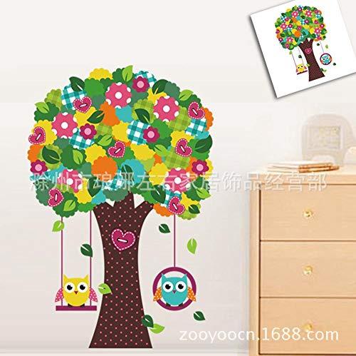 Muursticker, schattig cartoon-motief, voor kinderkamer, blauw, geel, uil, schommelend, boom, kinderkamer, slaapkamer, decoratie, muurstickers