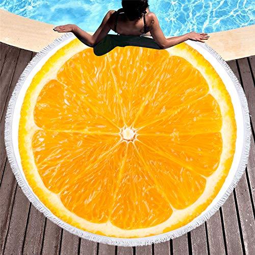 Stillshine. 3D Orange Grapefruit Frucht Runde Strandtuch Badetuch Quaste 60 Zoll Decke Gelb Grün Rot Teppich Roll Rock Sauna Handtuch (A3,150x150 cm 60 Zoll)