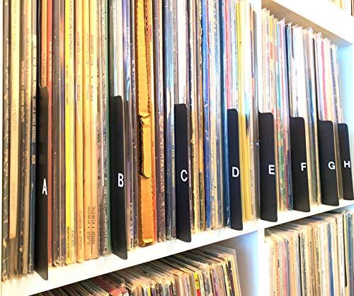 A to Z Black Tabbed Vinyl Record Dividers 12-inch LP. Tab on Bottom Edge Professional Album Organizers/Organization A-Z Alphabet Alphabetize Alphabetical Cards