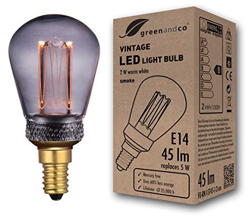 greenandco® Vintage Design LED Lampe zur Stimmungsbeleuchtung E14 ST45 Edison Glühbirne 2W 45lm 2000K smoke extra warmweiß 320° 230V flimmerfrei nicht dimmbar 2 Jahre Garantie