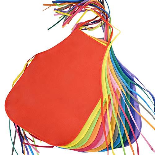 Asiv 12 Pz 12 Colori Grembiuli in Tessuto per Bambini, Grembiuli Artista per Bambini per Cucina, Aula, Barbecue, Arti e Mestieri Pittura, Impermeabile, Dimensione perfetta 33x48cm per Bambino 3-7 Anni