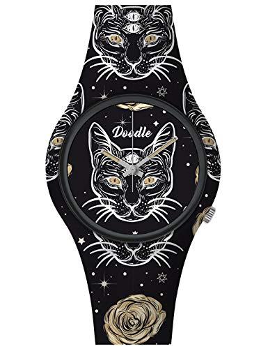 Doodle Watch Wild Mood DO39010 - Reloj de pulsera, diseño de gato, color blanco y negro
