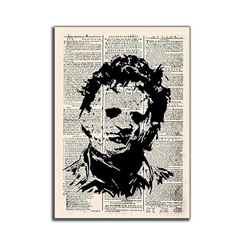 WJWGP Hitler Vintage Antiguo PerióDicos Abstracto Pintura Horror PelíCula CaráCter De La Lona Arte Impresiones Vintage Inicio Pared Cuadros 40x60cm No Marco Poster -K4