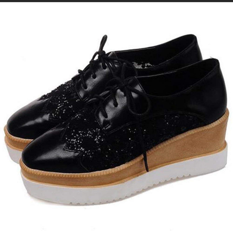 Lelehwhge Women's Sweet Square Toe Low Top Gauze Splicing Wedge Heel Oxfords Platform Lace Up Sneakers White 4 M US