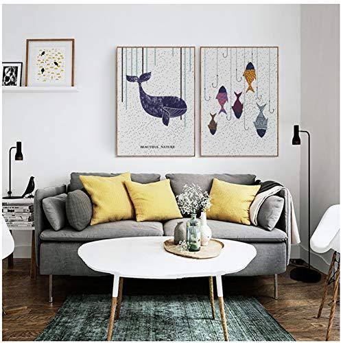 sjkkad Cartoon vis dier canvas schilderij decoratie afbeeldingen afdruk muurkunst Scandinavische stijl eenvoudige poster voor woonkamer 50 x 70 cm geen lijst