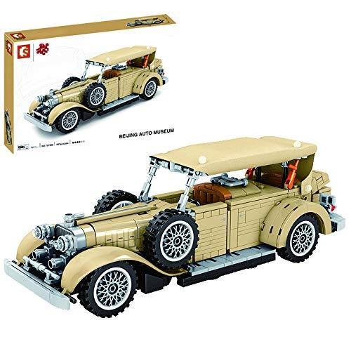 Lommer Technics Classic Car, 841 piezas Vintage Car Pull Back Car Construction Kit, Building Blocks Compatible con Lego Technic