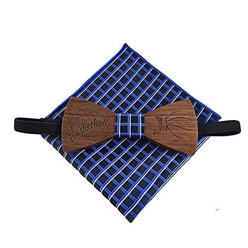 ZSRHH-Neckchiefs Halstücher Erwachsene Business Casual Party aus Holz Fliege Quadrat Krawatte Set Basketball Fliege Herrenbekleidung und Damenbekleidung
