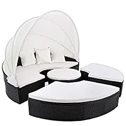 Deuba Poly Rattan Sun Island Ø185cm black | foldable sunshield | 7cm thick seat pads cream | 3 Comfortable pillows - Lounger Lounger Lounge Lounger Garden furniture without table