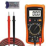 Multimètre Numérique, Redmoo Multimètre Voltmètre AC/DC Résistance de Courant DC Transistor Diode Testeur de Continuité Testeur de Tension Testeur de Courant avec Rétro-éclairage LCD (Orange)