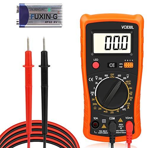 Digital Multimeter, Redmoo Multimeter AC/DC Voltmeter DC Strom Widerstand Transistor Diode Durchgangsprüfer Spannungsprüfer Stromprüfer mit Hintergrundbeleuchtung LCD Display (Orange)