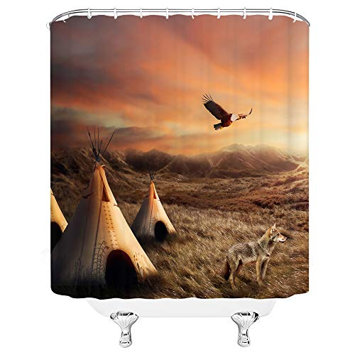 Xnichohe Tribal Shower Curtain Western Theme Native American Tribes Natural Landscape Tent Wilderness Sunset Hill Eagle Wolf Fabric Bathroom Decor Set 70x70 Inches Hooks Included Brown