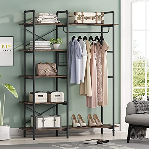Tribesigns Freestanding Garment Rack, industrial Pipe Frame Closet Unit for Hanging Clothes, Open Wardrobe Closet with Hanging Rods (Rustic)
