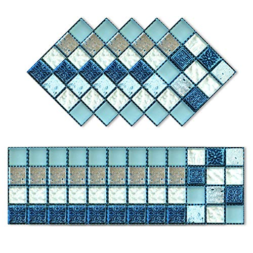 Gsrhzd Adesivi per piastrelle, Vinilos para azulejos de baño, 20 piezas baldosas negras, aptas para paredes y suelos de salón, cocina y dormitorio (10 x 10cm)
