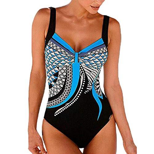 Andouy Damen Einteilige Blumen Badeanzug Monokini Rückenfrei Badeanzüge Push Up Bademode Schwimmanzug(2XL.Blau)