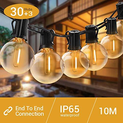 G40 LED Lichterkette Außen, Elegear IP65 WASSERDICHT Outdoor Lichterkette warmweiß,Deko Innen/Außen-Lichterketten für Garten Terrasse Hochzeit Party, 12,2 M Lichterkette (Max. 207 M Erweiterbar)