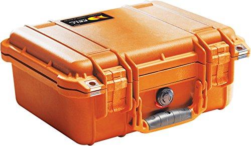 PELI 1400 Wasserdichter Schutzkoffer für Empfindliches Equipment, IP67 Wasser- und Staubdicht, 9L Volumen, Hergestellt in Deutschland, Ohne Schaum, Orange