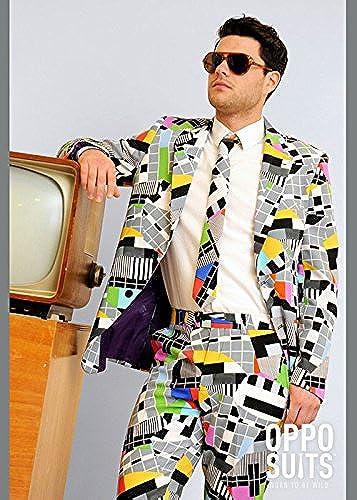Erwachsene Herren 80er Jahre Test Karte Anzug Kostüm Medium Large (EU52 UK42)