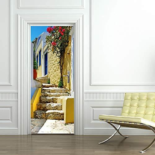 3D Deur Stickers muurschilderingen Tuin Stone Ladder Creatieve Verwijderbare Deur Decals Zelfklevende Deur muurschildering Deur Sticker voor Kamer Decor Waterdichte Deur Poster 95x215cm