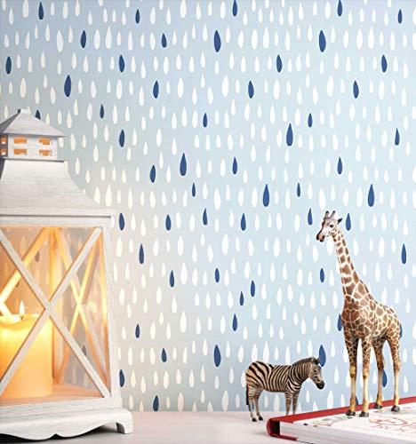 NEWROOM Kindertapete blau Tropfen Punkte Kinder Vliestapete Vlies Kindertapete Kinderzimmer Babytapete Babyzimmer Abstrakt