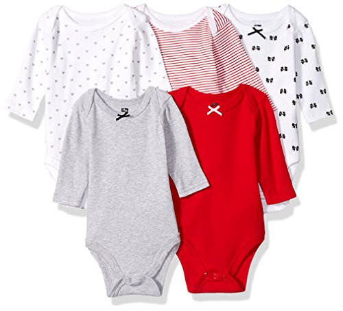 Hudson Baby Unisex Baby Cotton Long-sleeve Bodysuits, Bow, 0-3 Months US