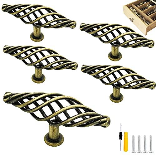 GZjiyu - 4 tiradores de muebles vintage de bronce para armario, estilo jaula de pájaros para cajón, puerta, baño, cocina, armario, con 4 tornillos + destornillador