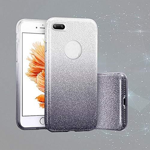 Compatible para XIAOMI REDMI 6 / Redmi 6A / 6A Dual M1804C3CG (Pantalla 5.45) Funda de Estuche Case Gel Silicona TPU protección Soft Negro/Silver Glass Strass