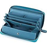 多機能 財布 牛革 レシート すっきり 長財布 レディース 大容量 本革 ラウンドファスナー ウォレット BOX型小銭入れ (ブルー)