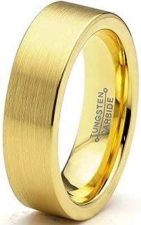 Tungsten Wedding Band Ring 6mm Men Women Comfort Fit 18k Rose Gold Black Flat Cut Brushed