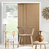 Chicology Adjustable Sliding Panels Cut to Length Vertical Blinds, Up to 80' W X 96' H, Birch Truffle (Privacy & Natural Woven)