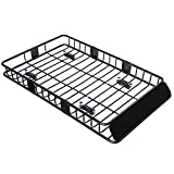"Tiptiper Roof Basket, 64""/43""Universal Roof Rack Cargo Basket with 250LBS Capacity, Top Luggage Holder Basket Fits for Truck, SUV and Off-Roader"