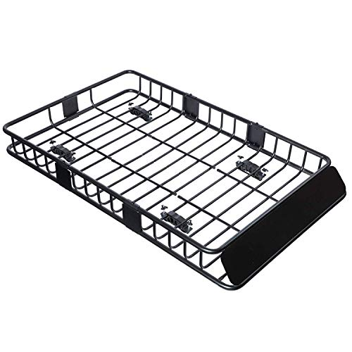 """Tiptiper Roof Basket, 43""""Universal Roof Rack Cargo Basket with 220lbs Capacity, Top Luggage Holder Basket Fits for Truck, SUV and Off-Roader"""