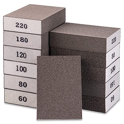 VANGELIX 12 Pack Sanding Sponges, 6 Different Specifications Sanding Blocks with Grit Printed, 60/80/100/120/180/220 Grit Sanding Sponge Designed for Metal Polishing and Woodworking, Washable&Durable