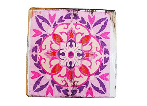 Pink untersetzer aus Kiefernholz |Pink untersetzer 4st | Höhe 1.3 cm |weiß, Pink, lila| Dekorationsartikel für Haus und Garten |