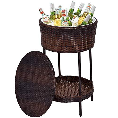 VOVOVO Tavolino da Esterni con Cesto Porta-Ghiaccio Incorporato, Tavolo da Giardino Refrigeratore Bevande Vaschetta con Marrone
