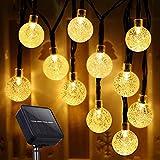 Guirnalda Luces Exterior Solar, 80 LED 17M Cadena de Luces Bolas LED Decorativas, IP65 Impermeable 8 Modos, Guirnaldas Luminosas para Exterior,Interior,Jardines Fiesta de Navidad (Blanco Cálido)
