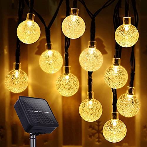LIADD Solar Lichterkette aussen, 80 LEDs 17M/56ft 8 Modi Solar Kristall Kugeln wasserdicht Außer/Innen Lichter Beleuchtung für Garten Feste Zimmersdekorationen Veranda Hochzeiten Partys