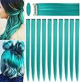 ECOCHARMS 10PCS 21 '' Extensiones de color verde azulado Clip en extensiones de cabello de colores para niñas Postizos de colores Destacados para fiestas Peluca recta sintética multicolor para niños