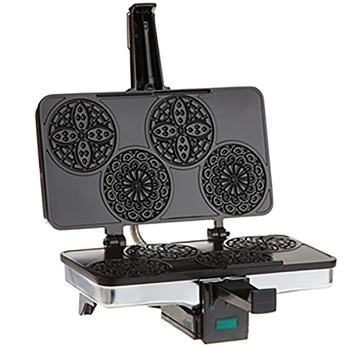 CucinaPro Mini Italian Pizzelle Waffle Maker Iron - Makes Four 3 1/4 Inch Pizzelle Traditional...