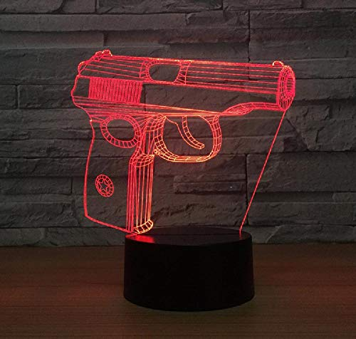 Pistola 3D Night Light Touch Armario Mesita de noche Usb Regalo personalizable Accesorios...
