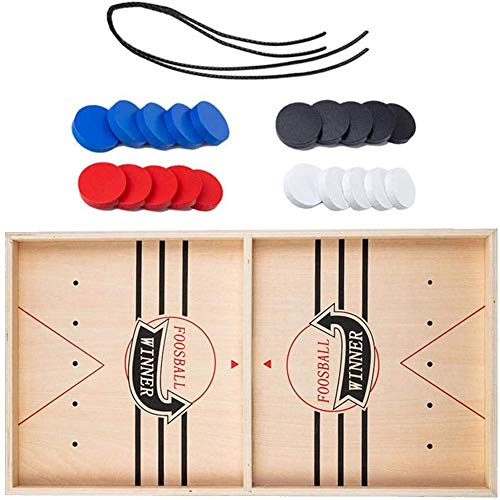 Wooden Hockey Game, Fast Sling Puck Game, Foosball Winner Board Game, Slingshot Game Board,for Adults Parent-Child Interactive Board Table Game (L)