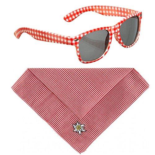 OSL-Shop Kostüm Set Brille und Halstuch rot weiß kariert Volksmusik Schlager Sonnenbrille