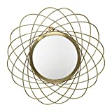 LaLe Living Espejo de pared Ayna de hierro dorado para colgar en la pared, diámetro de 44,5 cm