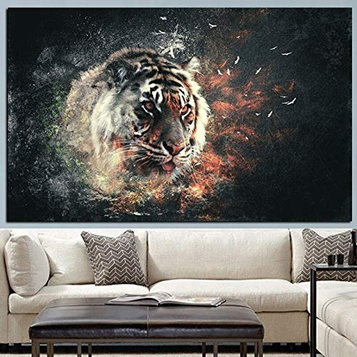 HD printed 3D tiger pop art modern mural on fire animal painting canvas living room poster sofa sofa decoration