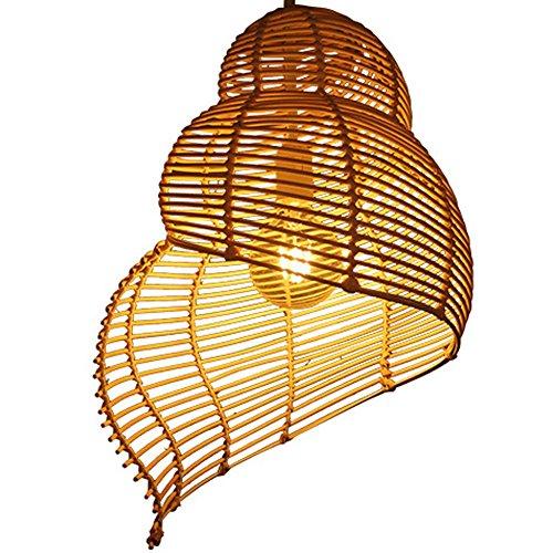 südostasia Mesas Idyl lische tipo de bambú de mimbre Conch Candelabros creativa moderna lámpara colgante restaurante Salón mano tejida decorativa atmósfera techo Leuchten E27 Max 40 W Ø35 cm (A)