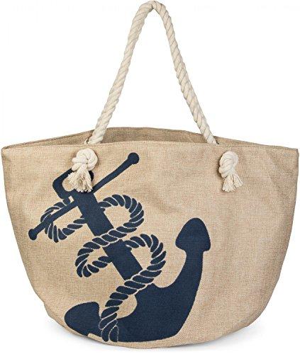 styleBREAKER Strandtasche in Flechtoptik mit Anker Print und Reißverschluss, Shopper, Badetasche, Damen 02012077, Farbe:Beige-Blau