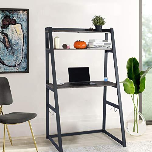 FurnitureR Escritorio para computadora con estantería para libros, escalera, mesa para computadora…