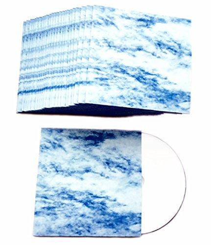 CD Kartonstecktaschen Wolkenhimmel Blau-Weiß Design, bedruckte CD Hüllen aus Karton für je 1 CD/DVD/Blu-ray Rohling – 50 Stück
